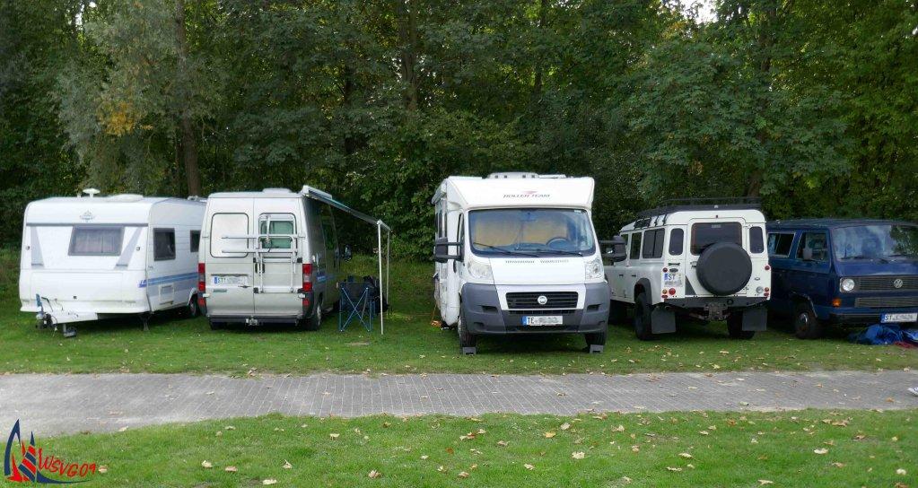 Von sieben anderen Vereinen kommen Segler nach Gronau und viele übernachten hier im Vereinheim, im Campingwagen oder Wohnmobil.